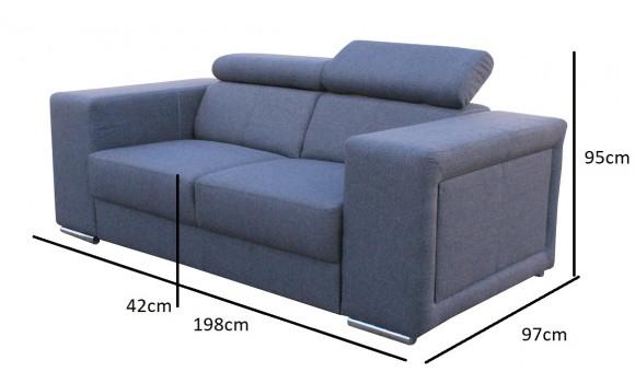Canapé 2 places carlos gris