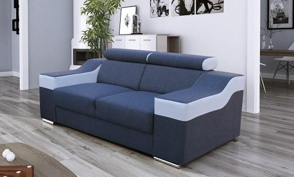 Canapé 2 places fabio gris/blanc