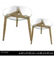 Table basse plateau verre x2