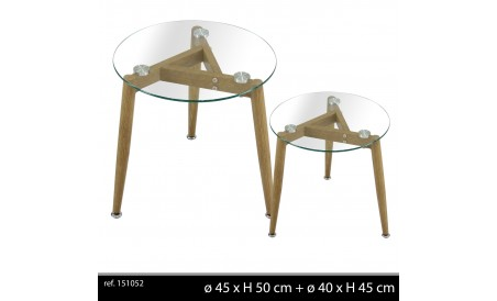 Table basse plateau verre x2
