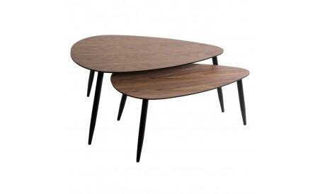 Table gigogne x2 Mileo Noyer