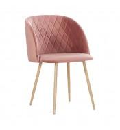 Chaise en velours makro rose