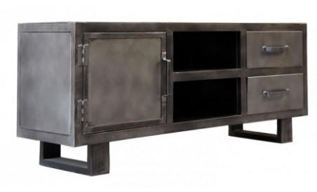 Meuble TV 1 porte 2 tiroir Métal