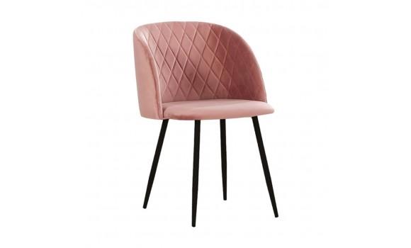 Chaise en velours makro rose vieilli
